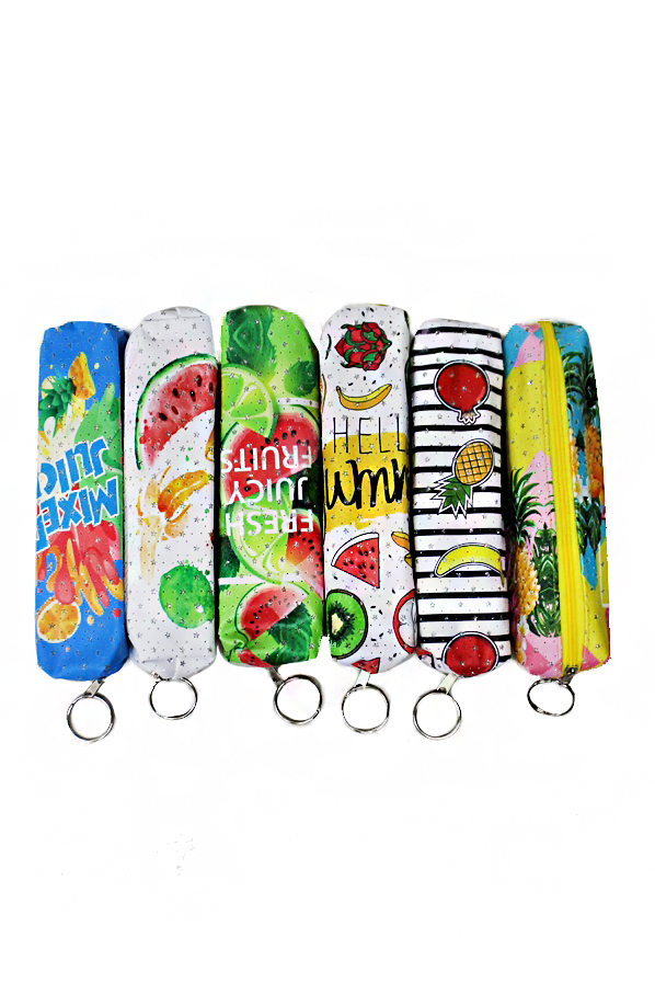 Animated Fruit Printed Cosmetic Pouch with One Zipper Closure