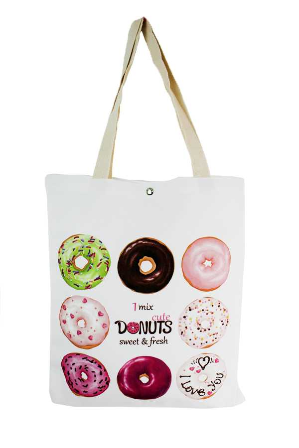Sweet Donuts animated Print Tote Bags