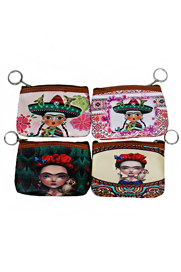 Animated Frida Kahlo and Floral Aztec Printed Collection Zip Up Coin Bags