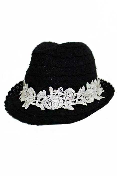 Delicate Lace Made Fedora With Floral Crochet Band Hat