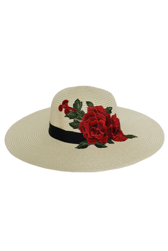 Vibrant Red Blossomed Floral Floppy Sun Hat