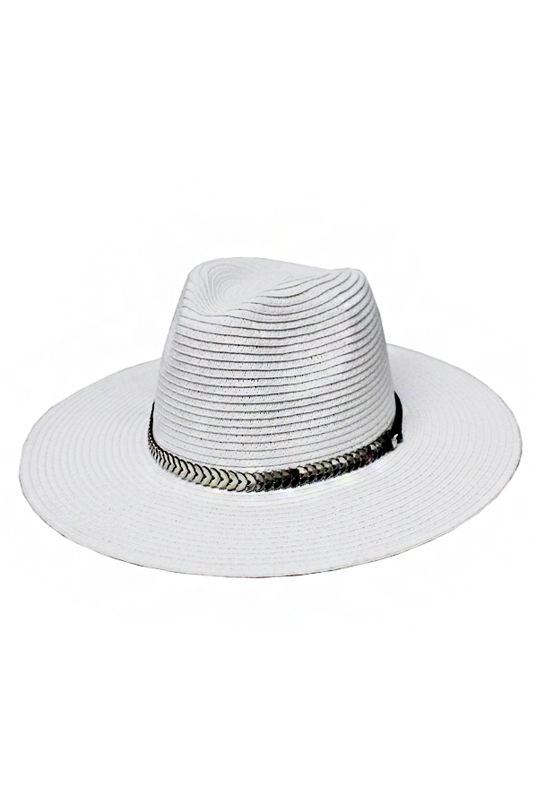 Chevron Metal Banded Plain Toyo Straw Panama Hat
