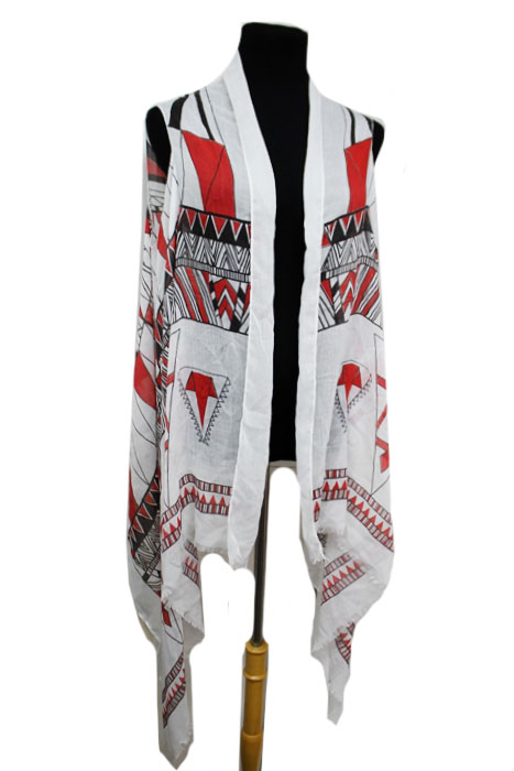 Aztec and Missoni Pattern Semi Sheer Sleeveless Cotton Feel Super Softness Cardigan Style