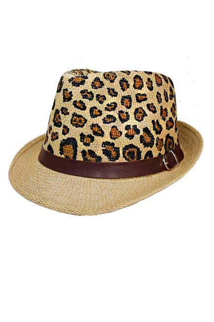 Animal Printed Lady Fedora With Vegan Leather Band
