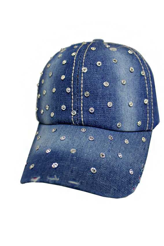 Studded Multiple Sparkled Stone Denim Bling Bling Caps