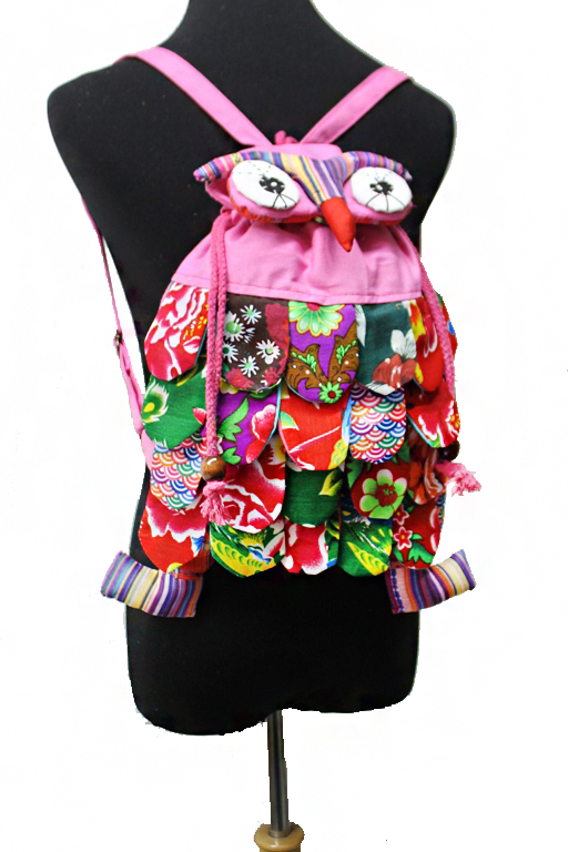 Novelty Boho Patch Work Quilt Owl Backpack