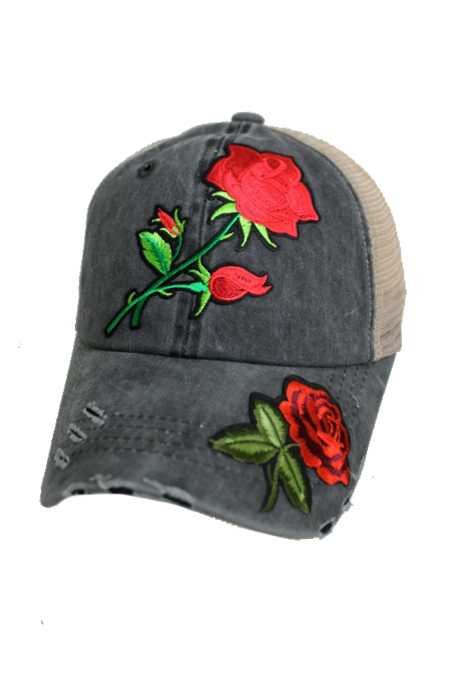 Enchanted Red Rose Embroidered Patch Pigment Dyed Distressed Strap Back Trucker Cap