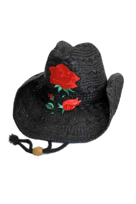 Enchanted Red Rose Embroidered Patch Western Cowboy Hat