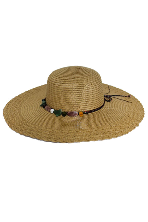 Earthy Boho Natural Colored Rock Stone Floppy Sun Hat