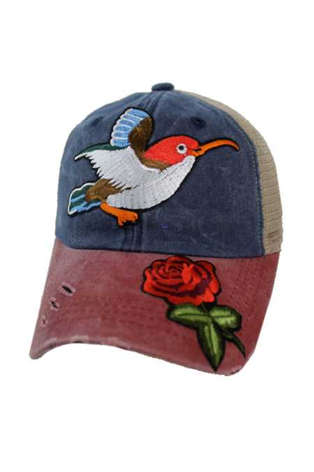 Red Rose Patch Nature Sight Seer Bird Three Tone Pigment Dyed Distressed Strap Back Trucker Cap