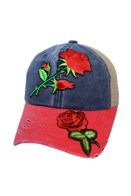 Enchanted Red Rose Embroidered Patch Three Tone Pigment Dyed Distressed Strap Back Trucker Cap