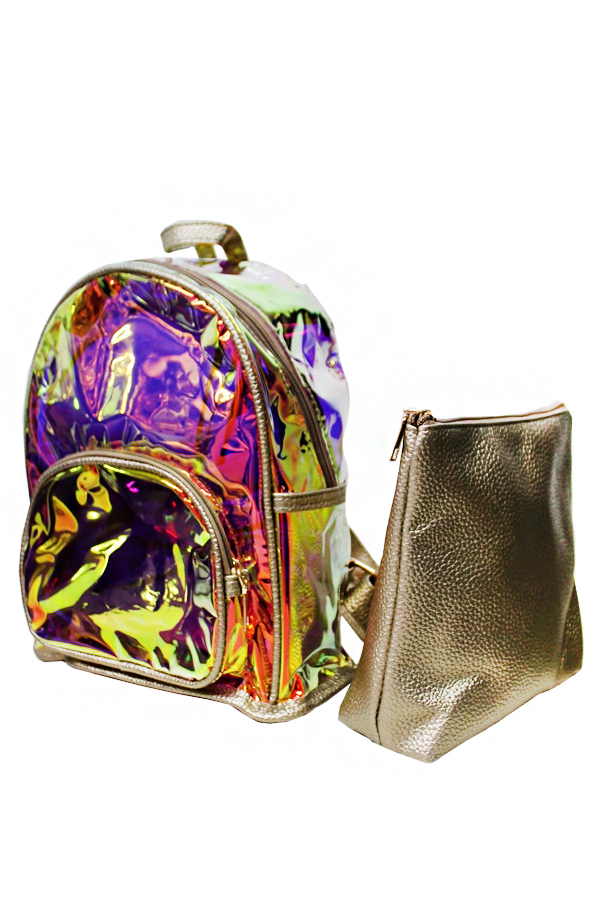 Iridescent Textured Color Changing PVC and Metallic Colored Faux Leather Backpack with Faux Leather