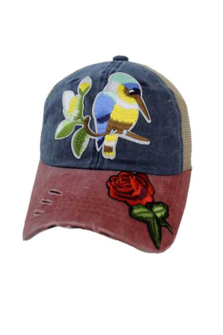 Exotic Hummingbird And Red Rose Three Tone Pigment Dyed Distressed Strap Back Trucker Cap