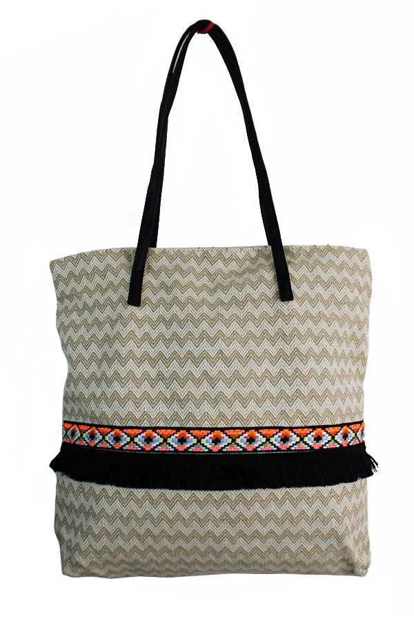 Missoni Patterned and Tribal Banded Tote Bag with Faux Leather Handle