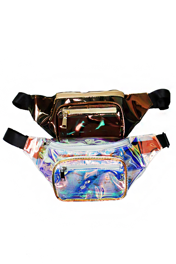 Designer Fashion Golden Copper Iridescent Semi Transparent Luxury Waist Fanny Pack