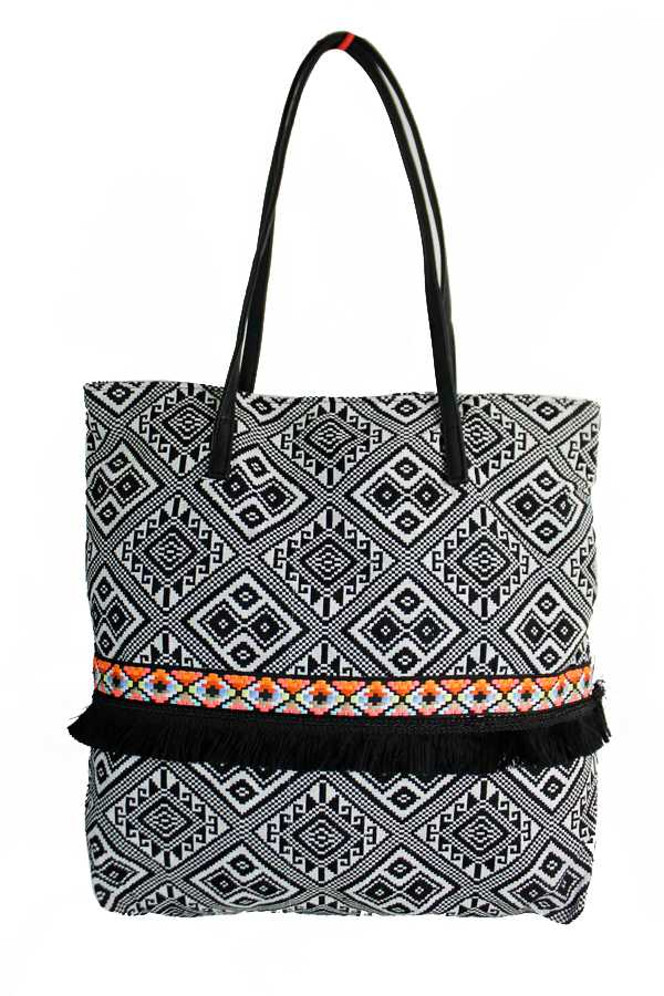 Aztec Patterned and Tribal Banded Tote Bag with Faux Leather Handle