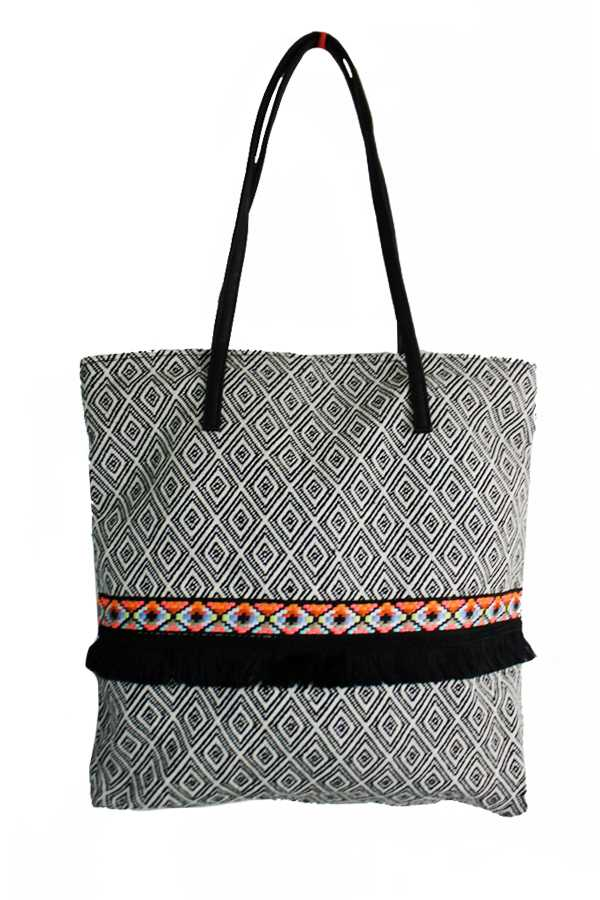 Geometric Patterned and Tribal Banded Tote Bag with Faux Leather Handle