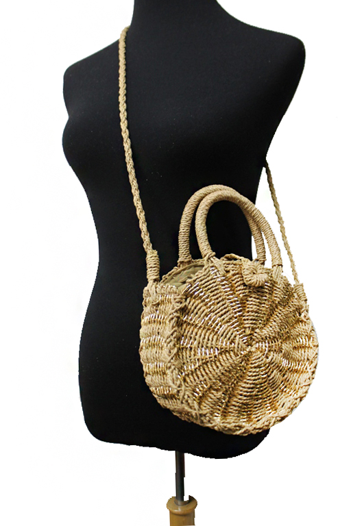 Small Circle Shimmer Weaved Straw Round Cross Body Bag