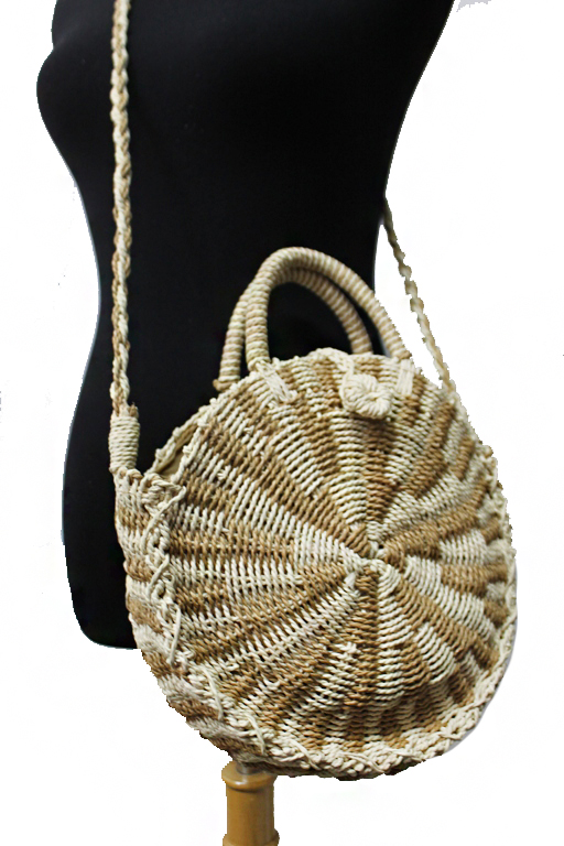 Two tone straw structured Round Cross body Bag