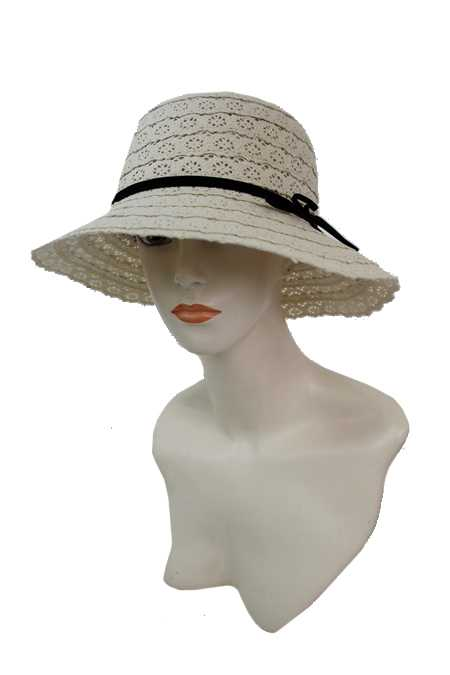 Flower Pattern Softness Lace Fabric with Belt design Bucket Style Hat