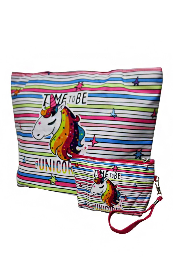 Animated Unicorn Printed Pink Outlined Canvas Tapestry Tote Bag