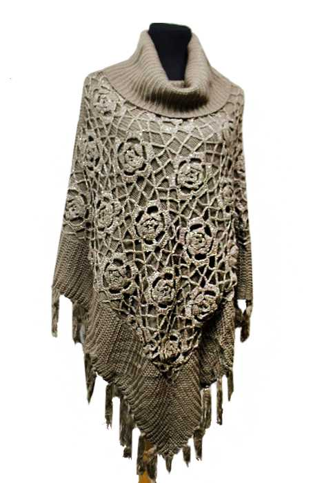 Cowl Neck Poncho Knitting Pattern : Hand Knit Flower Sequenced Pattern Pull Over Cowl Neck Poncho