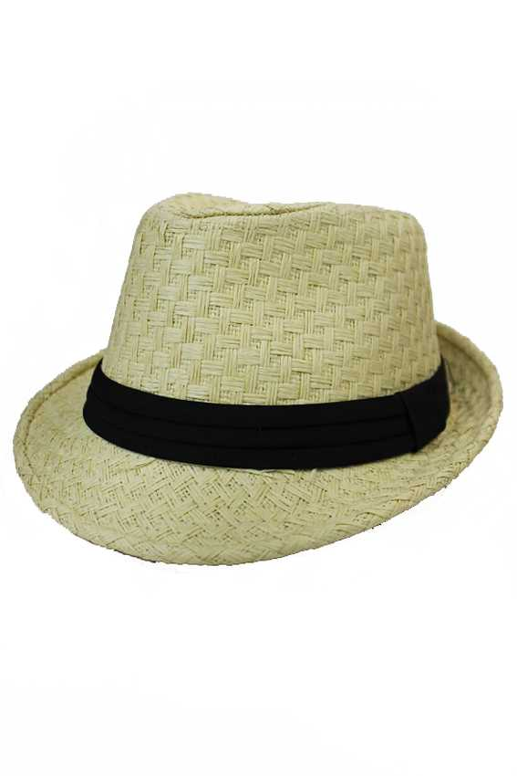 Basket Weave Pattern Natural Vibrant Straw Fedoras