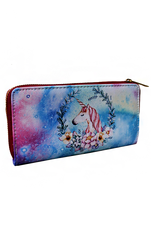 Unicorn Designed Fashion Wallet with Zipper Closure