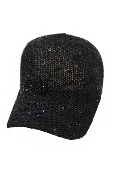 All Mesh without Panel with Sequins Design Snap Back Cap