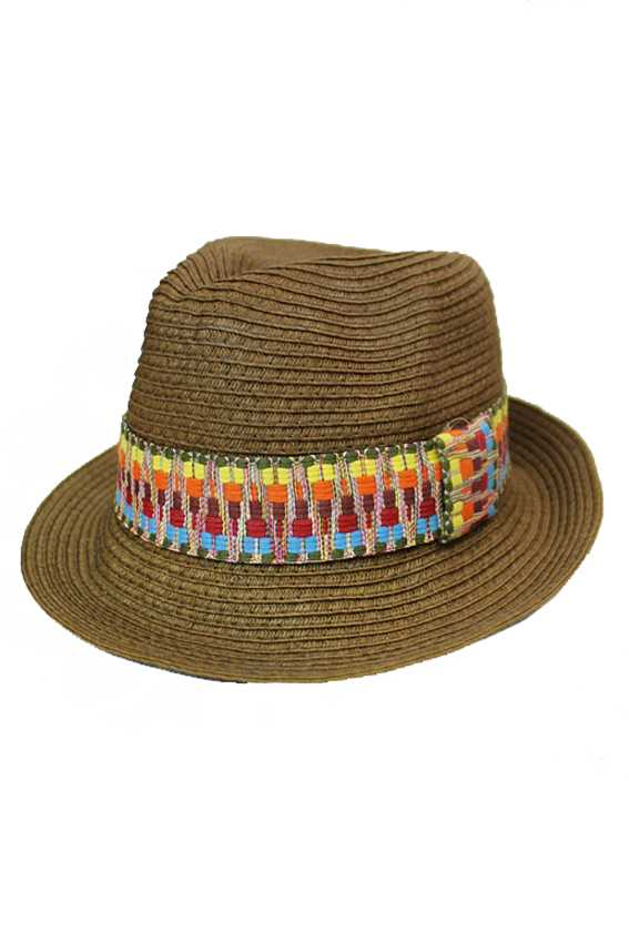 Native Boho Tribal Vibrant Color Band On Crush Able Summer Fedora