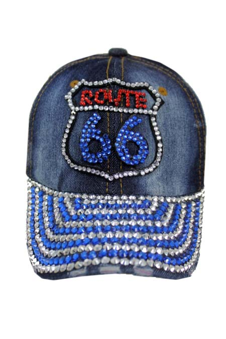 Route 66 Design Bling Bling Studs Denim Washing Cap