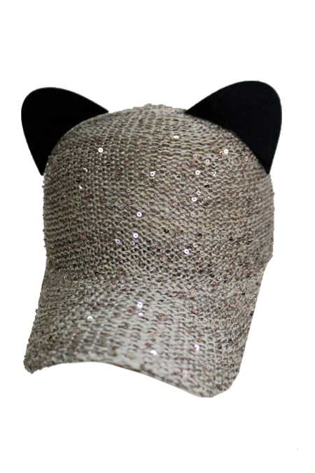 Kitty Cat Ears Sparkly Sequin Mesh Texture Baseball Cap