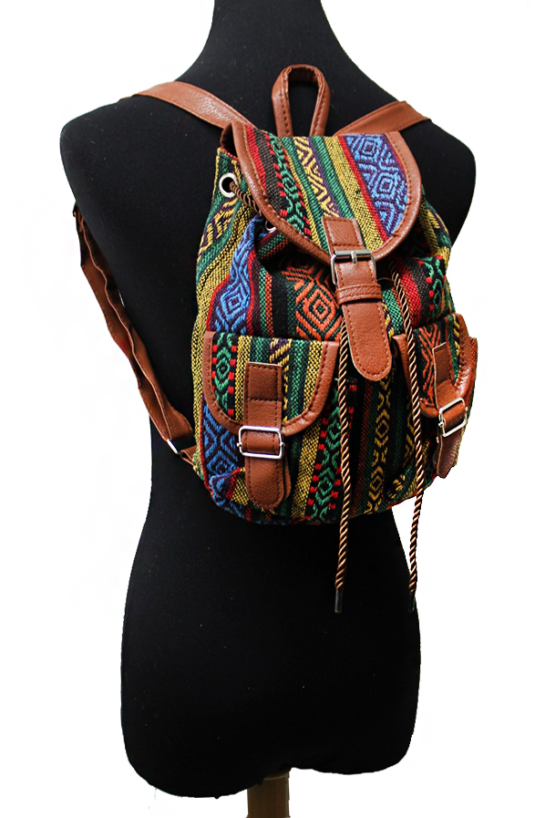 Tribal Geometric Patterned and Faux Leather Outlined Backpack
