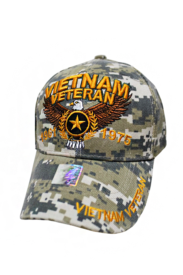 Vietnam War Veteran Emblem Embroidered Six Panel Baseball Hat with Velcro Back