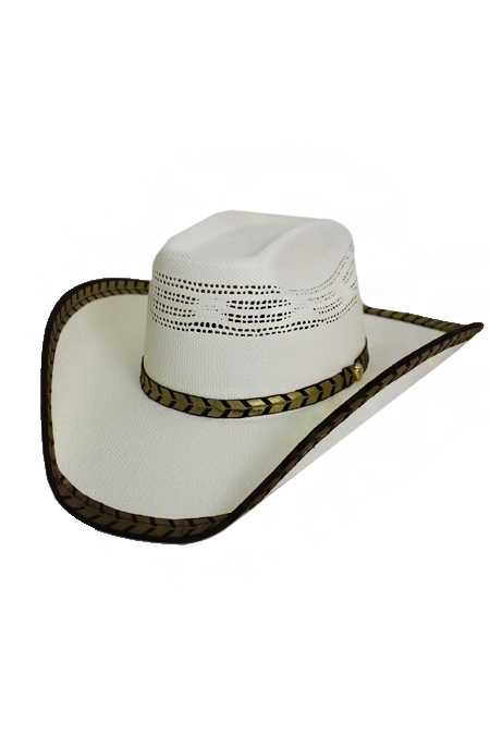 Gold Trimmed Ribbon Western Cow Boy Hat