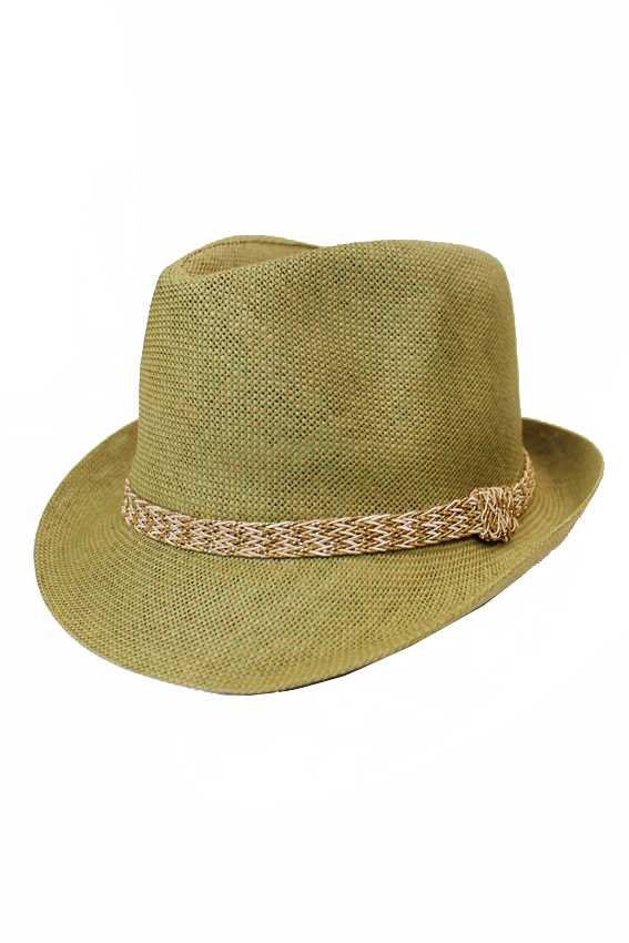 Metallic Shimmer Crochet Banded On Natural Straw Fedora