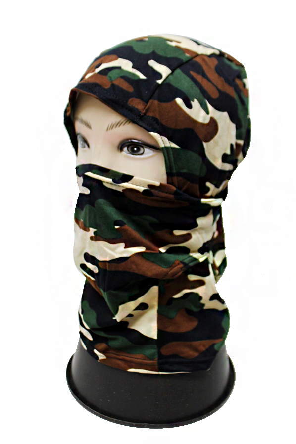 Camouflage Patterned Mesh Fabric Face and Neck Covering Sky Mask
