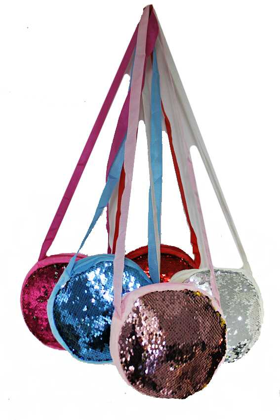 Rounded Cross Body Colorful Sequin Shimmer Plush Bag