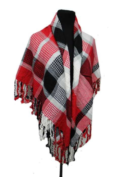 Checkered and Striped Colorful Pattern Knitted Large Over Sized with Fringe Blanket Scarf and Shawls