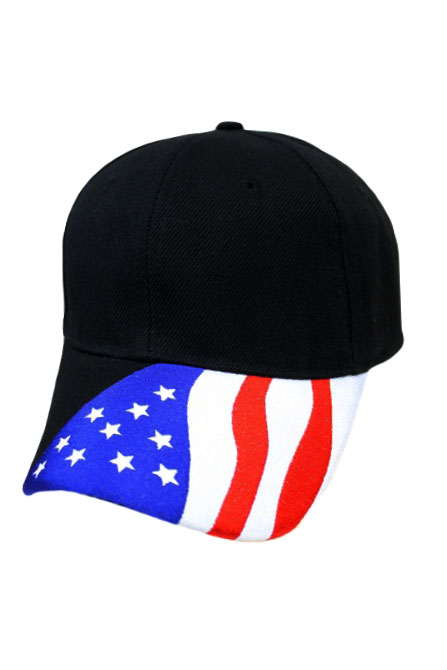 Military Look and Plain Cap with American flag design Embroidery