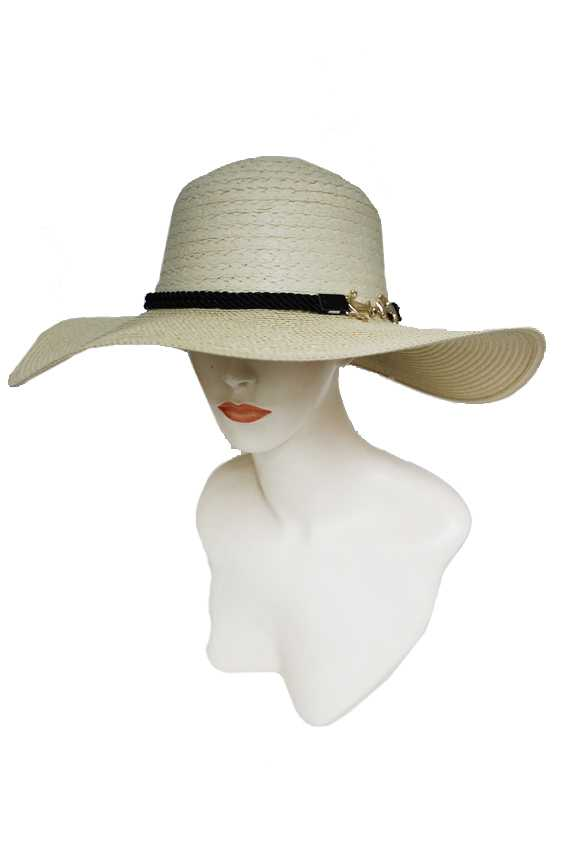 Weaved With Golden Anchor Brioche Floppy Summer Sun Hat