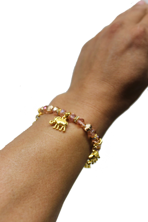 Bohemian Lucky Elephant Themed Stack with Silver Tone Charms Bracelets