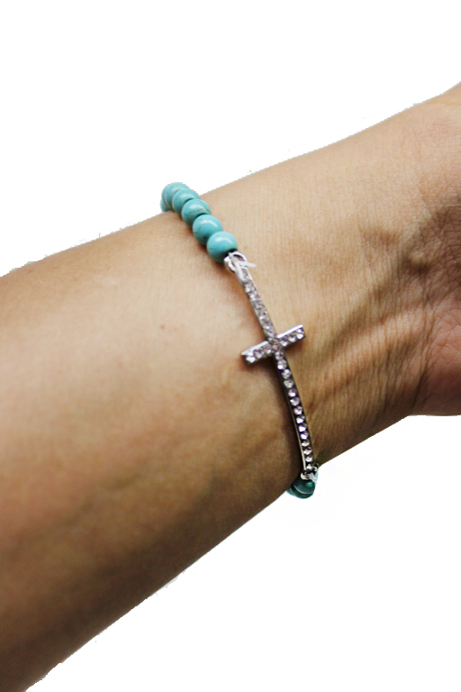 Fashion Turquoise Beads Sideway cross rhinestones bracelet