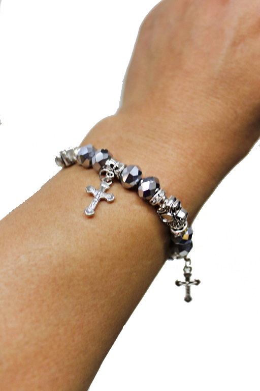 Chic Mini Cross Charm Crystal Bead stretch Boho Bracelets