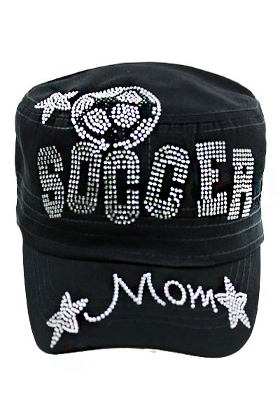 Rhinestone Soccer Mom Star Design Cadet Hat.
