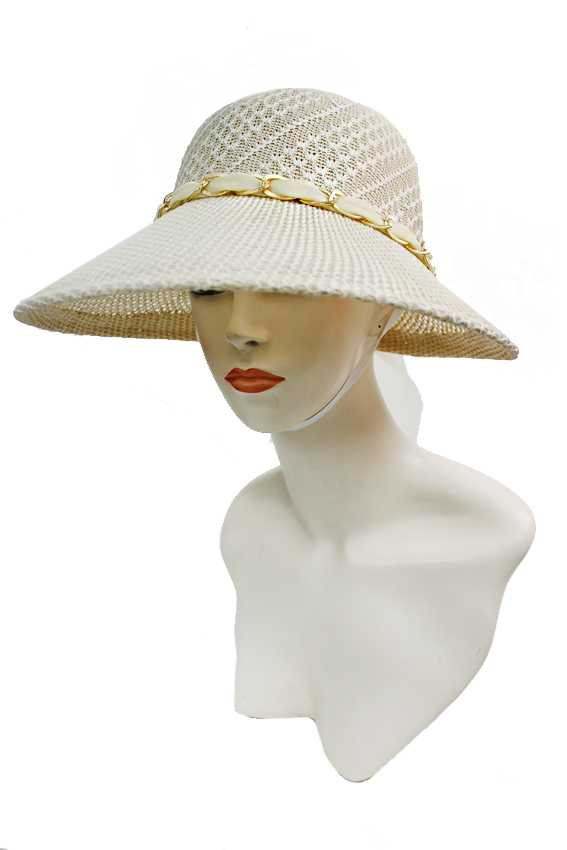 Woven Lace Chiffon Chained Detailed Visor Styled Sun Hat