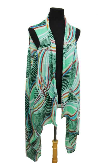 Abstract image Colorful Swirl and Dotted Print Super Softness Semi Sheer Sleeveless Vest Kimono