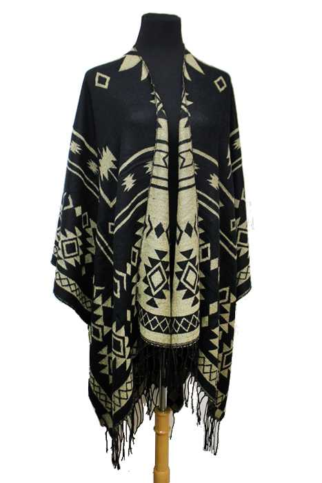 Aztec Pattern Super Soft Cashmere Feel Open Big Poncho
