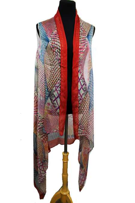 Diamond Kaleidoscope Pattern Super Softness Vest Beach Kimono