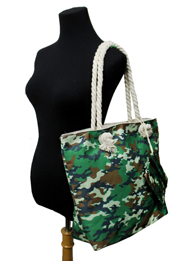 Trendy Military Camouflage Printed Canvas Tote with Matching coin Pouch